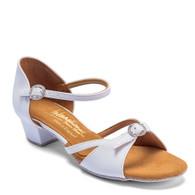 "Girls Natasha - White - Pictured on the 1.25"" Cuban heel."