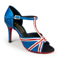 "Elizabeth - Blue Seta/White/Red - Pictured on the 3"" Ultra Slim heel."