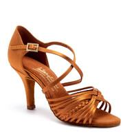 "Demani - Tan Satin - Pictured on the 3"" Elite heel."