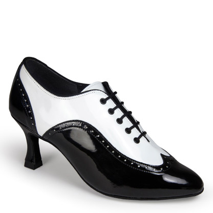 "Ladies Brogue - White Patent/Black Patent - Pictured on the 2.5"" IDS heel."