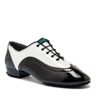 "Brogue - White Patent/Black Patent - Pictured on the 1"" heel."