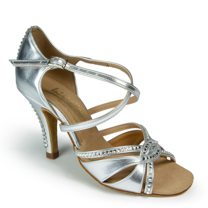 "Mia Crystal - Silver - Pictured on the 3"" Elite Heel - Made with Swarovski® Crystals"