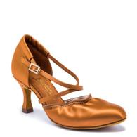 "American Flex - Tan Satin - Pictured on the 2.5"" IDS heel."