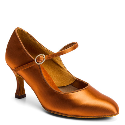 """ICS Classic - Tan Satin - Pictured on the 2.5"""" IDS heel."""