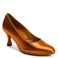 "ICS RoundToe - Tan Satin - Pictured on the 2.5"" IDS heel."