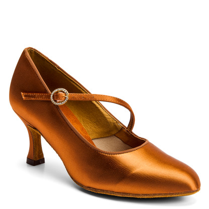 "ICS RoundToe SingleStrap - Tan Satin - Pictured on the 2.5"" IDS heel."