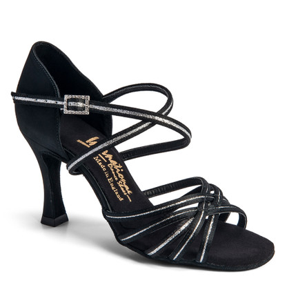 """Flavia Sequin - Black Satin/Silver Sequin - Pictured on the 3"""" IDS heel."""