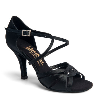 "Mia - Black Satin - Pictured on the 3"" Elite heel."