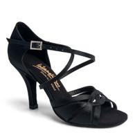 "Mia - Black Satin - Pictured on the 3"" Elite heel."