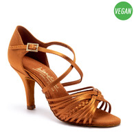 "Vegan Demani - Tan Satin - Pictured on the 3"" Elite heel."