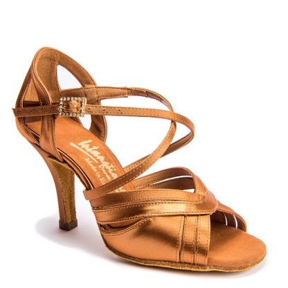 "Katya - Tan Satin - Pictured on the 3"" Elite heel."