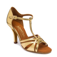 """Mia T-Bar - Gold - Pictured on the 3"""" Elite heel."""