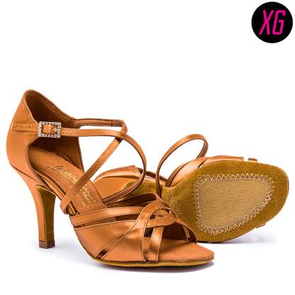 """Mia XG - Tan Satin - Pictured on the 3"""" Elite heel."""