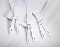 Designer Braces Leather End - White