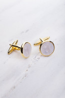 Chrisanne Clover Cufflinks Pair - Gold/Mother of Pearl