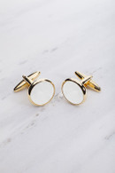 Chrisanne Clover Cufflinks Pair - Gold/White