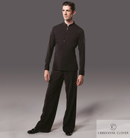Men's 4 Button Latin Top - Black