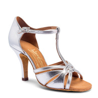"""Mia T-Bar - Silver - Pictured on the 3"""" Elite heel."""