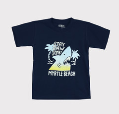 Boys Navy Myrtle Beach Stay Jaw-some Shark T Shirt