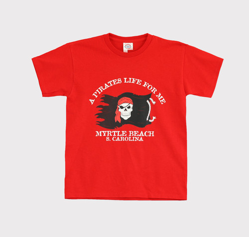 Red Boys Pirates Life For Me Tee