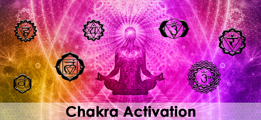 A brightly colored illustration of a person meditating while being surrounded with several chakra symbols.