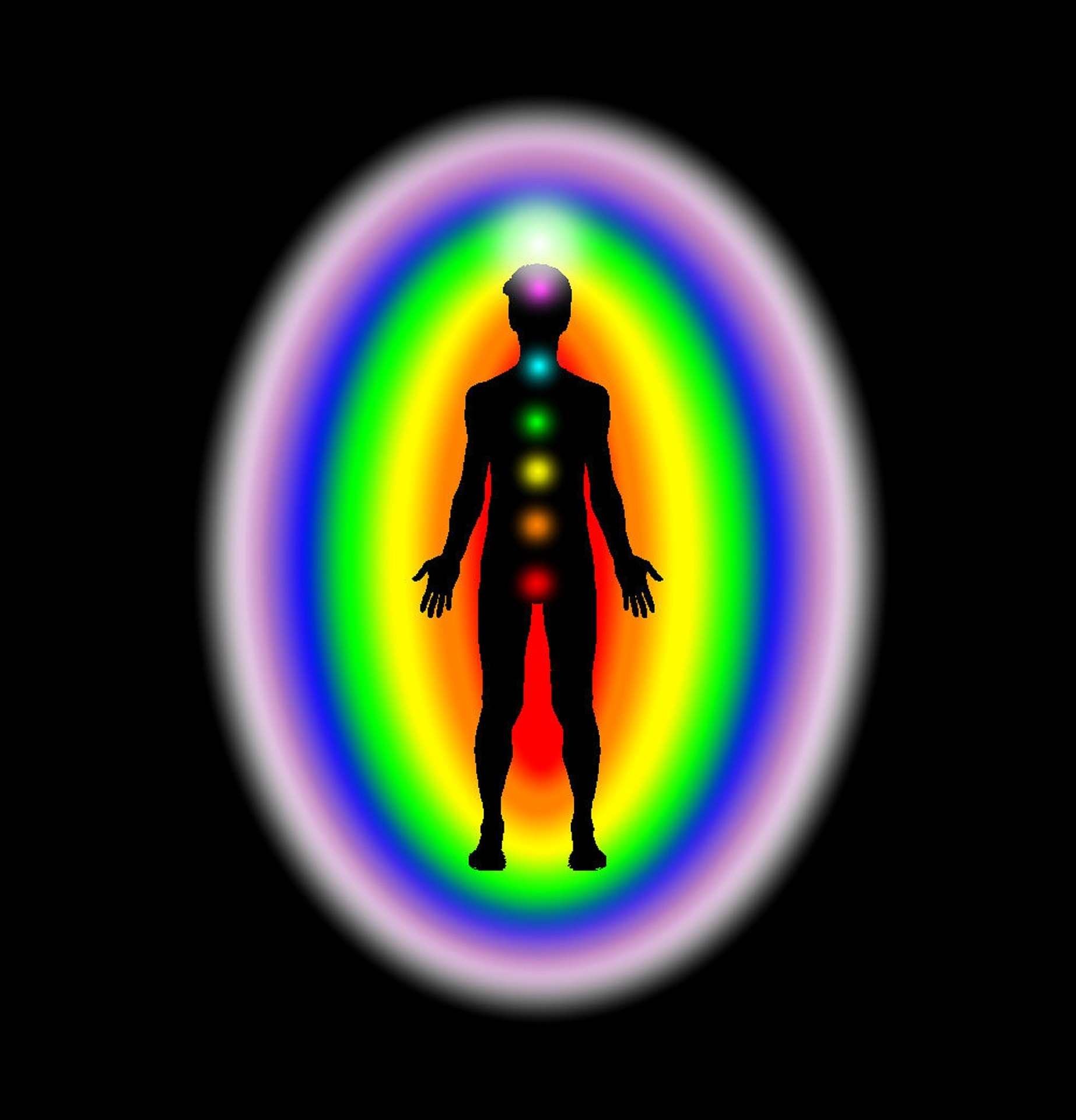 This diagram shows the location of each of the chakras. The 1st chakra is located at the base of the spine.