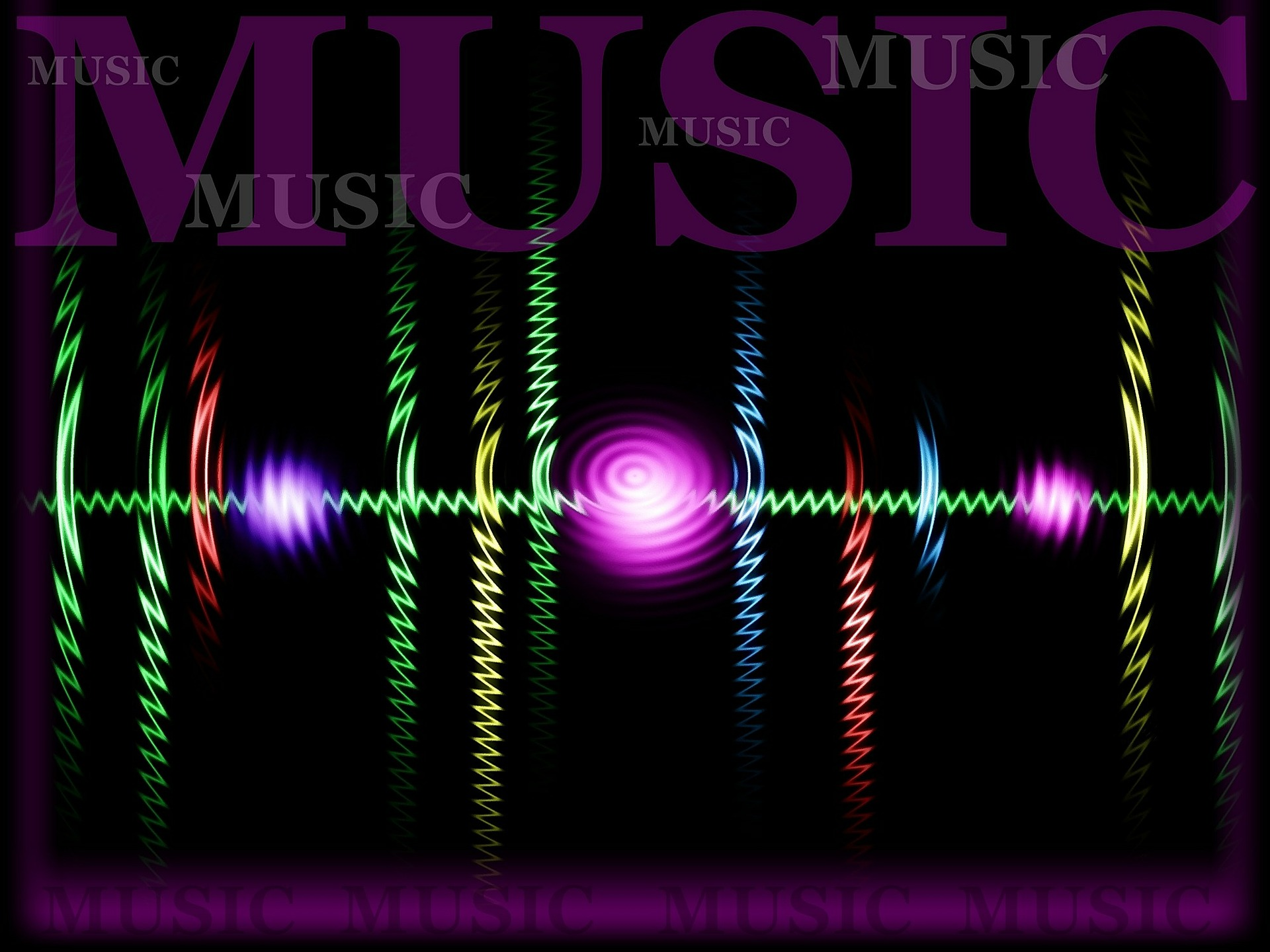 An illustration with the word music, frequencies, and several bright colors.