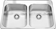FRANKE STEEL QUEEN DOUBLE BOWL TOPMOUNT SINK - SQX620D/T