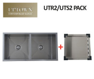 INTERCHANGE UPTOWN SQUARE DOUBLE BOWL SINK + DRAIN TRAY - UTR2 PACK