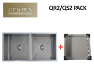 INTERCHANGE UPTOWN SQUARE DOUBLE BOWL SINK + DRAIN TRAY - QR2 PACK