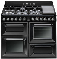 SMEG 110CM BLACK HERITAGE VICTORIA DUAL FUEL FREESTANDING OVEN - TRA4110BL
