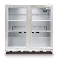 HUSKY 190L SILVER ALFRESCO 2 DOOR BAR FRIDGE - HUS-C2-840-HY