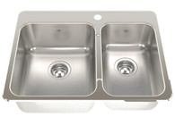 FRANKE STEEL QUEEN 1 1/2 BOWL TOPMOUNT SINK - SQX620C-R/T