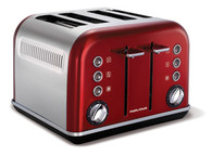 MORPHY RICHARDS METALLIC RED ACCENTS FOUR SLICE TOASTER - 242020
