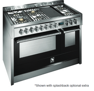 STEEL 120CM GENESI FREESTANDING COMBI-STEAM OVEN  - 6 GAS BURNERS AND BARBECUE GRILL PLATE - G12SEF-6B OT