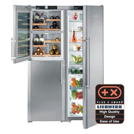 LIEBHERR 707L SMART STEEL SBS PAIR - SBSes7165 - FULL FRIDGE WITH BIOFRESH PLUS & HALF FREEZER/WINE CELLAR - SBSes7165