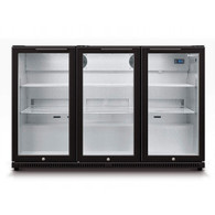 HUSKY 307L ALFRESCO 3 DOOR BLACK BAR FRIDGE - HUS-C3-840-BLK