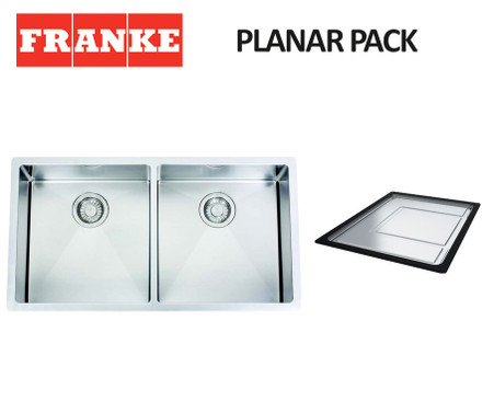 FRANKE PLANAR 12 DOUBLE BOWL SQUARE SINK PACK - PZX220-36R12 ...