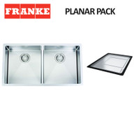 FRANKE PLANAR 12 DOUBLE BOWL SQUARE SINK PACK - PZX220-36R12