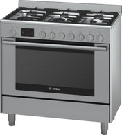 BOSCH 90CM PYROLYTIC DUAL FUEL FREESTANDING OVEN - HSB838357A