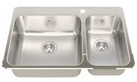 FRANKE STEEL QUEEN 1 1/2 BOWL TOPMOUNT SINK - SQX620B-R/T