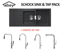 ABEY SCHOCK CRISTADUR 1 3/4 BOWL NANOGRANITE BLACK SINK + TAP - D200B + TAP PACK