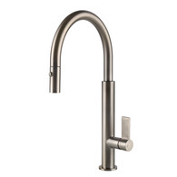 GESSI BRUSHED NICKEL GOOSENECK DUAL SPRAY PULLOUT TAP - 37064BN