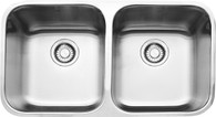 FRANKE STEEL QUEEN DOUBLE BOWL UNDERMOUNT SINK & DRAIN TRAY ONLY - SQX120D-B