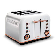 MORPHY RICHARDS WHITE ACCENTS ROSE GOLD FOUR SLICE TOASTER - 242108