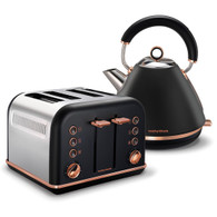 MORPHY RICHARDS BLACK ACCENTS ROSE GOLD KETTLE & TOASTER SET - 102107 + 242107