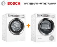 BOSCH WAY32891AU 9KG iDOS WASHER + WTY877W0AU 9KG HEAT PUMP DRYER