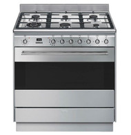SMEG 90CM DUAL FUEL FREESTANDING PYROLYTIC OVEN - FSP9610X