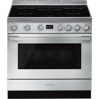 SMEG PORTOFINO 90CM S/STEEL INDUCTION COOKTOP FREESTANDING PYROLYTIC OVEN - CPF9IPXA*