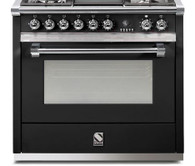 STEEL 90CM ASCOT ANTHRACITE FREESTANDING COMBI-STEAM OVEN - 6 GAS BRASS BURNERS - A9S-6WOT EX DISPLAY*